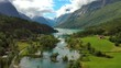 Beautiful Nature Norway natural landscape. Aerial footage lovatnet lake Lodal valley.