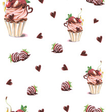 Seamless Pattern With Cupcake ...