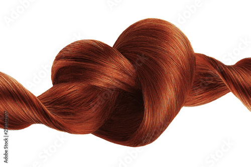 Canvas Print Henna hair knot in shape of heart, isolated on white background