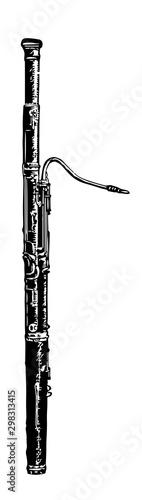 Bassoon, vintage illustration. Canvas Print