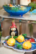 Carved Vegetables And Fruits. Eggplants, Lemon, Apple And Dragon Fruits Were Carved Into Cute Animals Such As Penguins, Fish And Crab. Marine Animal And Under The Sea Concept.
