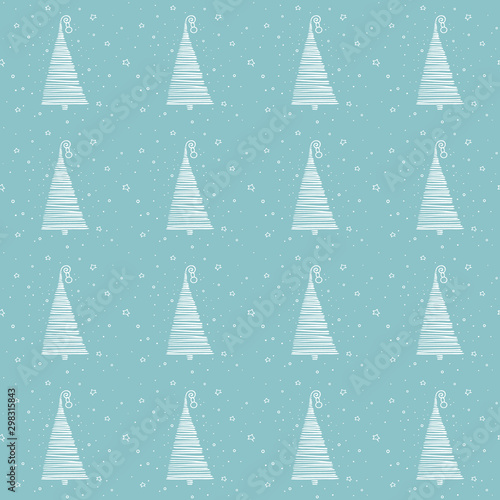 Christmas New Year Seamless Pattern With Simple Minimalist Xmas Trees On Blue Background In Doodle Style Hand Drawn Texture For Greeting Cards Fabric Or Wrapping Paper Designs Vector Illustration Stock Vector