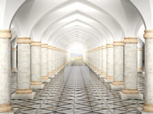 Hall With Columns And Vaulted ...
