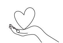 One Continuous Line Drawing Of Hand Holding Heart