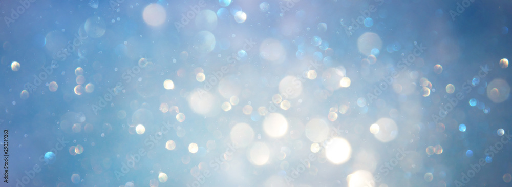 Fototapety, obrazy: abstract glitter silver, gold , blue lights background. de-focused. banner