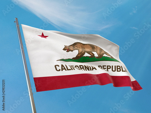 Fotografia, Obraz State flag of California flag on a pole waving