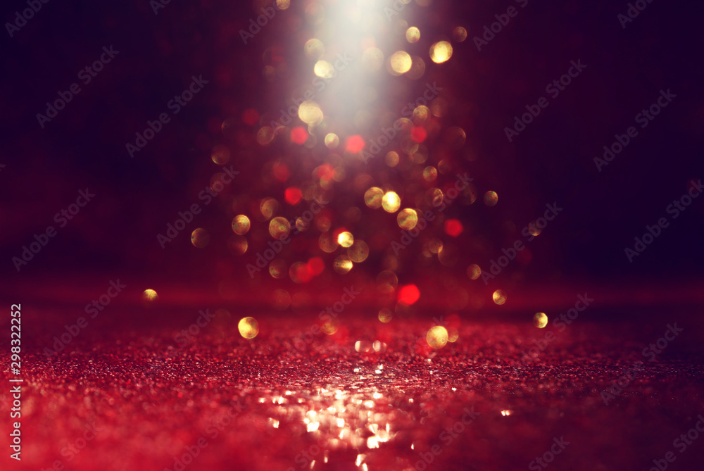 Fototapety, obrazy: background of abstract red, gold and black glitter lights. defocused