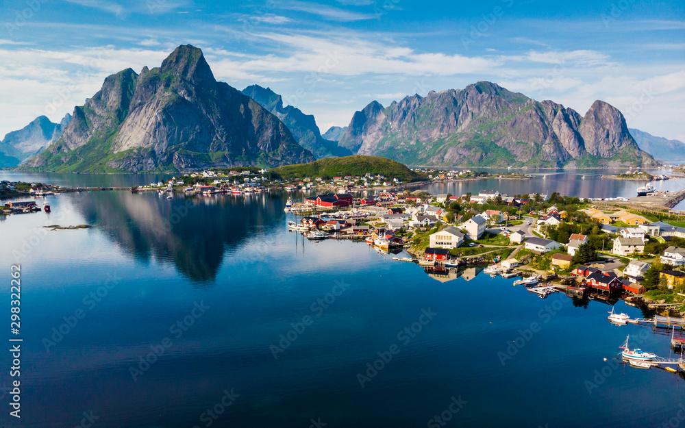 Fototapety, obrazy: Fjord and mountains landscape. Lofoten islands Norway
