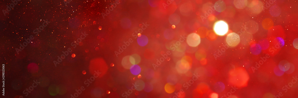 Fototapety, obrazy: background of abstract red, gold and black glitter lights. defocused. banner