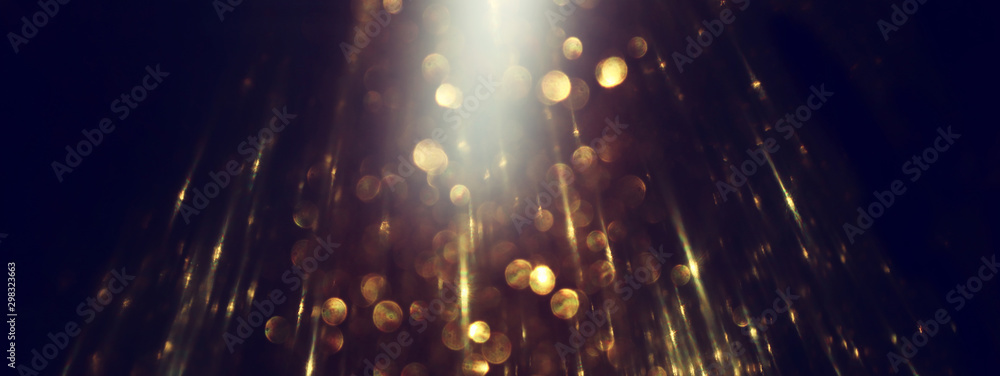 Fototapety, obrazy: background of abstract glitter lights. gold and black. de focused. banner