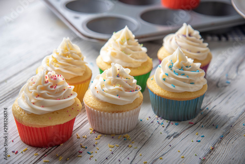 cupcake images in colorful cup Wallpaper Mural