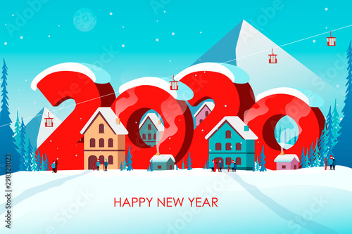 Winter travel 2020. Travel to World. Vacation. Road trip. Tourism. Journey. Travelling illustration. Happy New Year and Merry Christmas banners in flat style. Colorful. EPS 10
