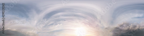 Seamless dark sky after sunset hdri panorama 360 degrees angle view with beautiful clouds  with zenith for use in 3d graphics or game development as sky dome or edit drone shot - 298328262