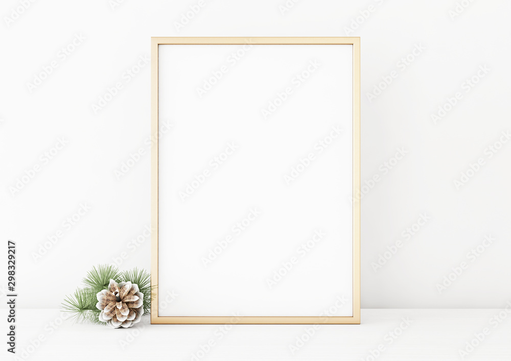 Fototapety, obrazy: Vertical christmas poster mockup with golden frame and pine cone on white wall background. 3D rendering, illustration.