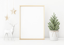 Vertical Christmas Poster Mockup With Golden Frame, Fir Tree, Star Garland And Deer On White Wall Background. 3D Rendering, Illustration.