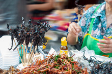Deep Fried Scorpion Skewers And Insects, Street Food.