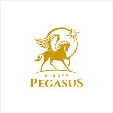 Pegasus Logo Winged Horse Vector Flat Gold Color Simple Illustration For Mascot Design Inspiration