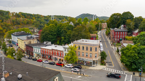 Canvas Print Aerial View Over Broadway Street South Kingston New York