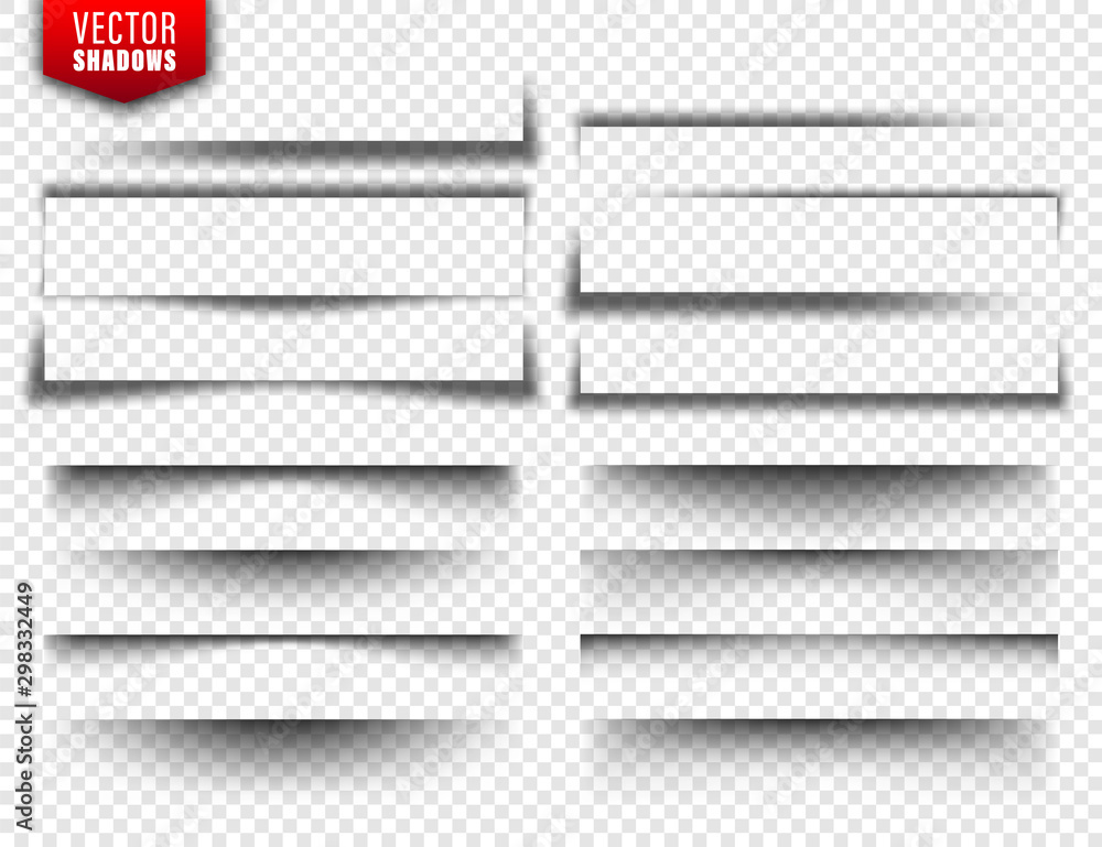 Fototapeta Vector shadows set. Page dividers on transparent background. Realistic isolated shadow. Vector illustration.
