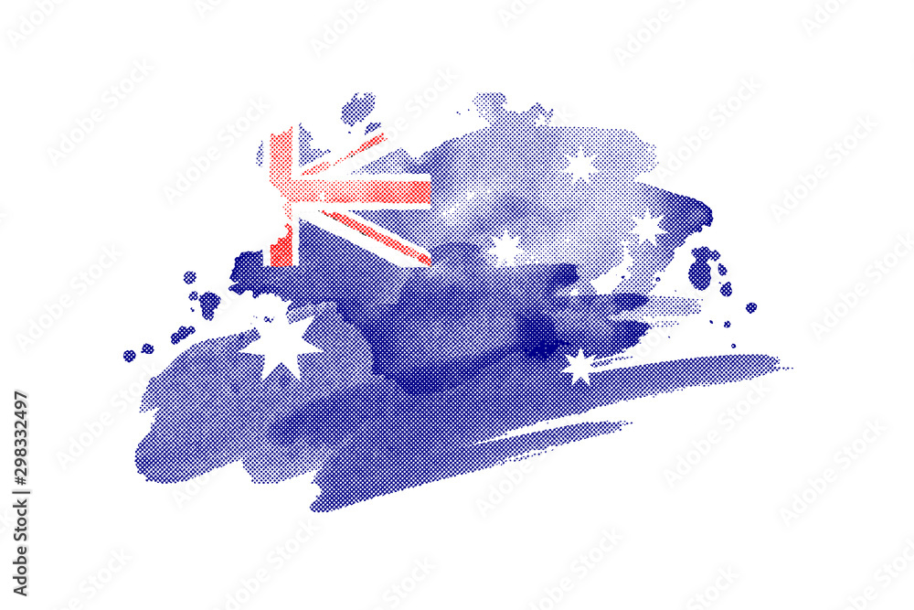 Fototapeta National flag of Australia. Stylized Australian flag with watercolor halftone effect on plain background