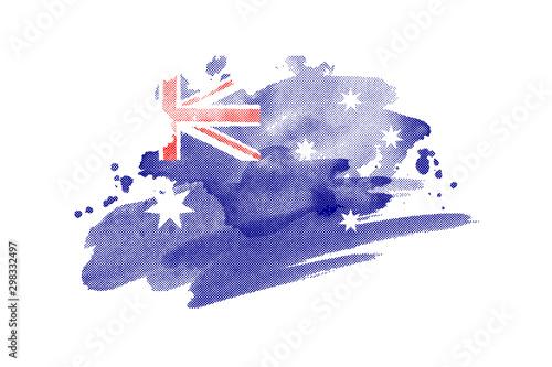 Obraz National flag of Australia. Stylized Australian flag with watercolor halftone effect on plain background - fototapety do salonu