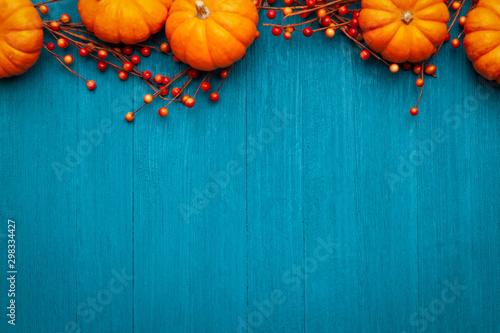 Autumn Thanksgiving Colorful Setting Background - 298334427