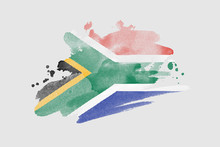 National Flag Of South Africa. Stylized South African Flag With Watercolor Halftone Effect On Plain Background