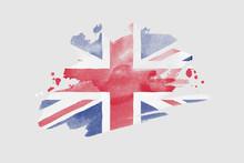 National Flag Of The United Kingdom. Stylized UK Flag With Watercolor Halftone Effect On Plain Background