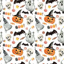 Cheerful Happy Halloween Seaml...