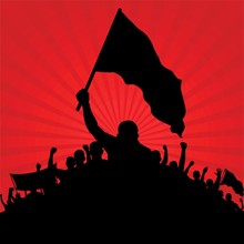 Silhouette Of Protesters With Flags On Red Background