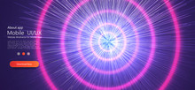 Fast Moving At Light Speed - Trends, Modern  Warp Star Beams. Blue Pink Neon Round Frame, Circle, Ring Shape, Ultraviolet Light, Fashion Show Stage, Abstract Background