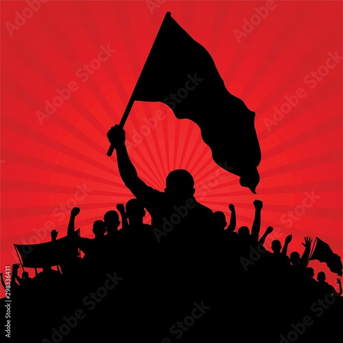 Stampa su Tela silhouette of protesters with flags on red background