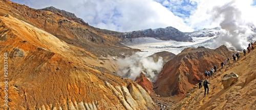 Fotografie, Obraz Tourists in Kamchatka Peninsula, Russia