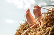 Leinwanddruck Bild - Close-up of kid feet dangling on a haystack in a meadow