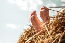 Close-up Of Kid Feet Dangling ...