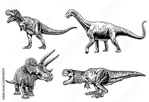 Fototapeta Graphical set of dinosaurs isolated on white background,vector illustration