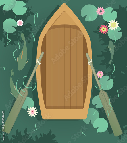 Photo Empty row boat in the lake, covered with water lilies, view from top, EPS 8 vect