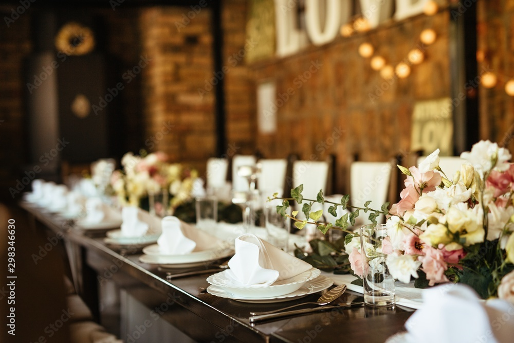 Fototapety, obrazy: Arranged table set at wedding reception.