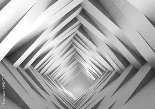Streszczenie futurystyczny tunel, na końcu tunelu światło z mgłą