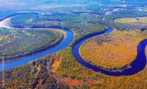 Aerial photography of landscape in Western Siberia Canvas-taulu