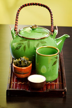 Green Tea Leaves With Pot