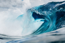 Clean And Blue Wave Breaking In The Ocean