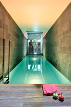 Illuminated Indoor Pool In Modern House With Tree