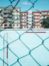 Football Goal On Blue Court Ac...