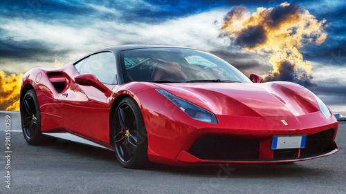 Luxury model sports car Ferrari 488 GTB placed on a scenic background - find more in my portfolio -, Rome, Italy  June 24, 2018