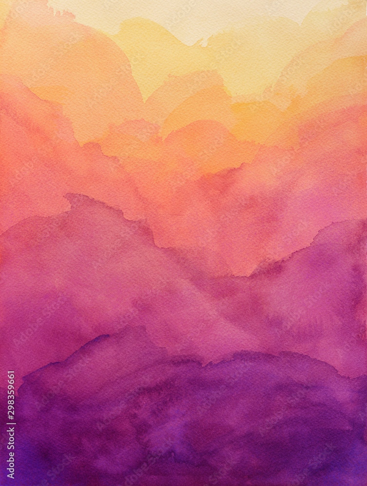 Fototapety, obrazy: beautiful hues of yellow gold pink and purple in hand painted watercolor background design with paint bleed and fringing in colorful sunrise or sunset colors in cloudy shapes