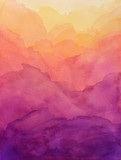 beautiful hues of yellow gold pink and purple in hand painted watercolor background design with paint bleed and fringing in colorful sunrise or sunset colors in cloudy shapes - 298359661