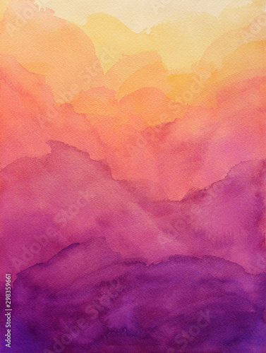 Obraz beautiful hues of yellow gold pink and purple in hand painted watercolor background design with paint bleed and fringing in colorful sunrise or sunset colors in cloudy shapes - fototapety do salonu