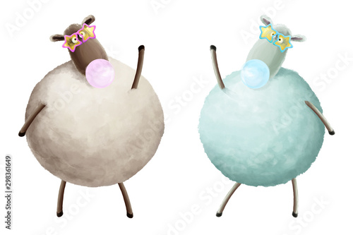 Cartoon black and white sheeps in sun party glasses with sweet bubble gum. Positive character to birthday, party, invitation, greetings card white isolated