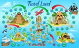 Game board for children. Ship trip for treasure. Vector illustration. Age 3-7 2-4 players Fascinating pirate adventure game for kids.While playing kids are going to quickly learn numbers.